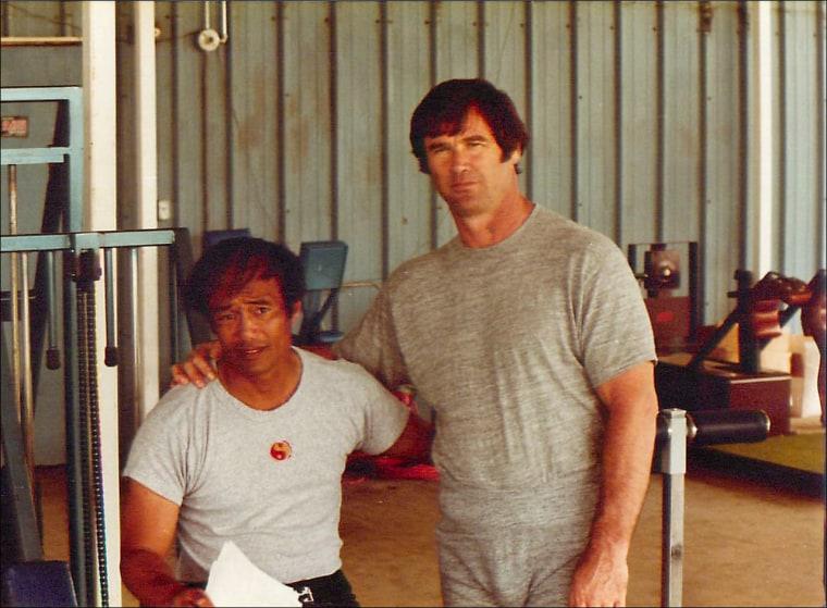 Dan Inosanto with Bob Ward, a former conditioning coach for the Dallas Cowboys.