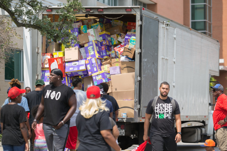 One of the U-Hauls preparing to unload goods at ground zero Texas Southern University.
