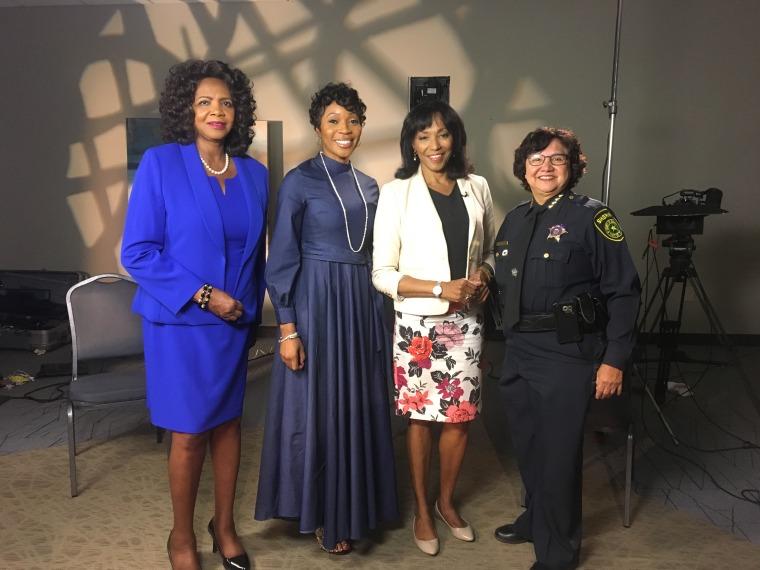Faith Johnson, Renee Hall, Rehema Ellis and Lupe Valdez.