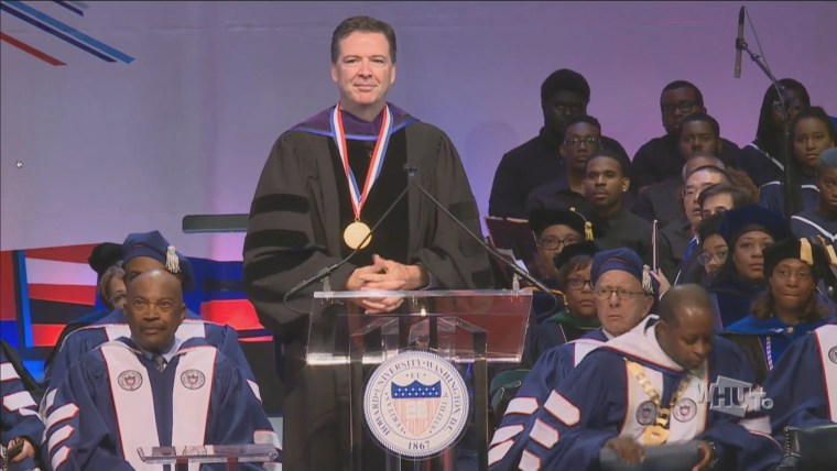 Image: James Comey delivers remarks at Howard University for the 150th Opening Convocation address on Sept. 22, 2017.