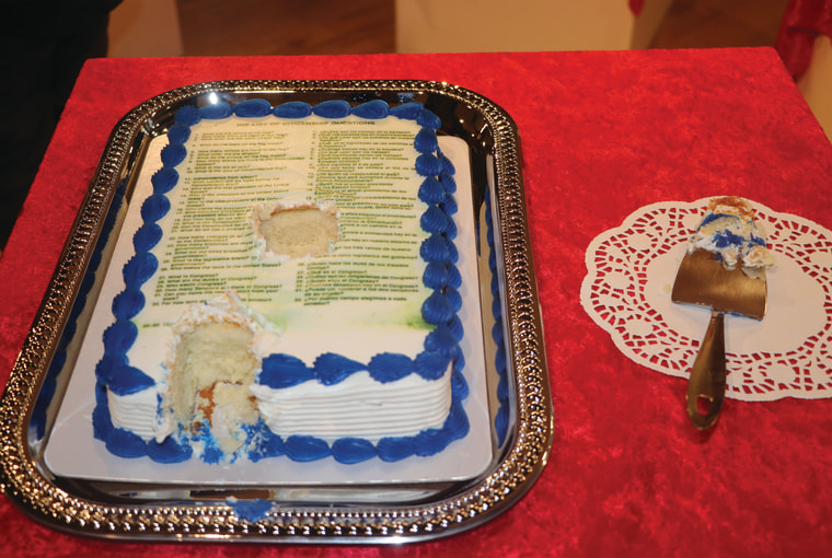 "Artwork from Fabiola Valenzuela's ""Cake"" series, which features a U.S. Citizenship questionnaire printed on an edible cake."