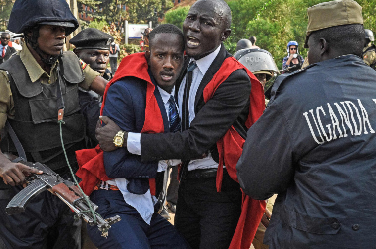 Image: Students of Makerere University clash with police officers during a protest
