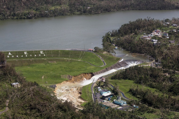 Image: Water drains from the Guajataca Dam in Quebradillas