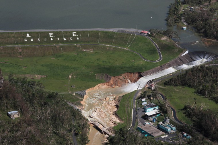 Image: An aerial view shows damage to the Guajataca dam in the aftermath of Hurricane Maria, in Quebradillas