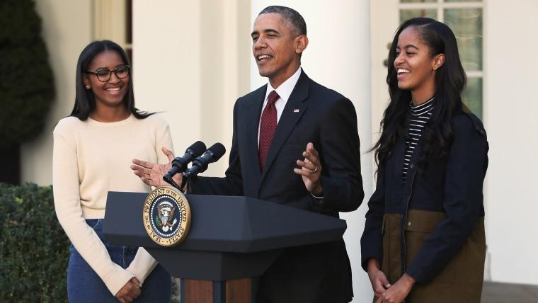 President Obama and his daughters Malia and Sasha Obama