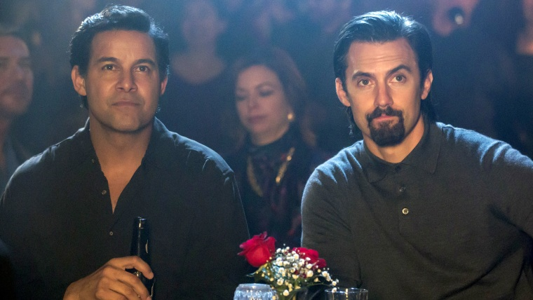 "Jon Huertas as Miguel and Milo Ventimiglia as Jack on ""This Is Us."""