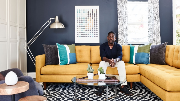 Sterling K. Brown sits in his at-home creative workspace