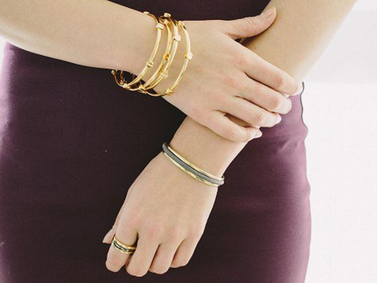 Hair tie bracelet on an arm