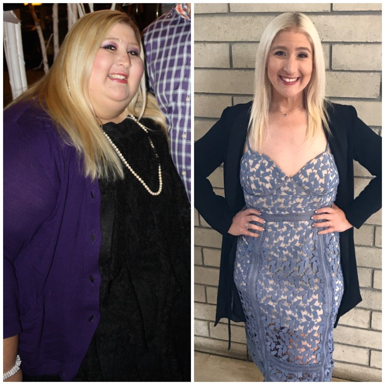 At her heaviest, Adan weighed more than 500 pounds. Left, Adan in 2011, and right, Adan in 2017.