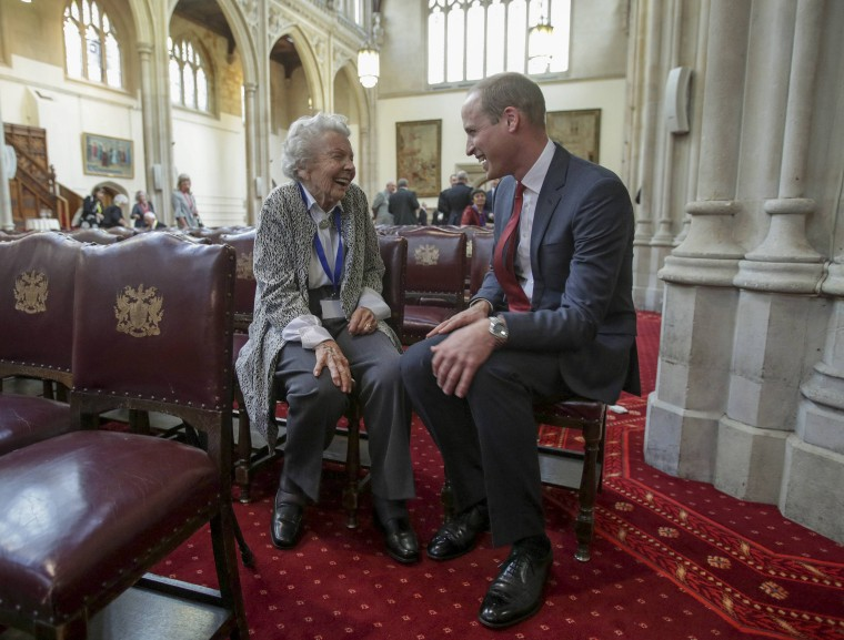 Prince William meets Iris Orrell, aged 98, who received an Orphans Medallion during a Metropolitan and City Police Orphans Fund reception, at the Guildhall, London.