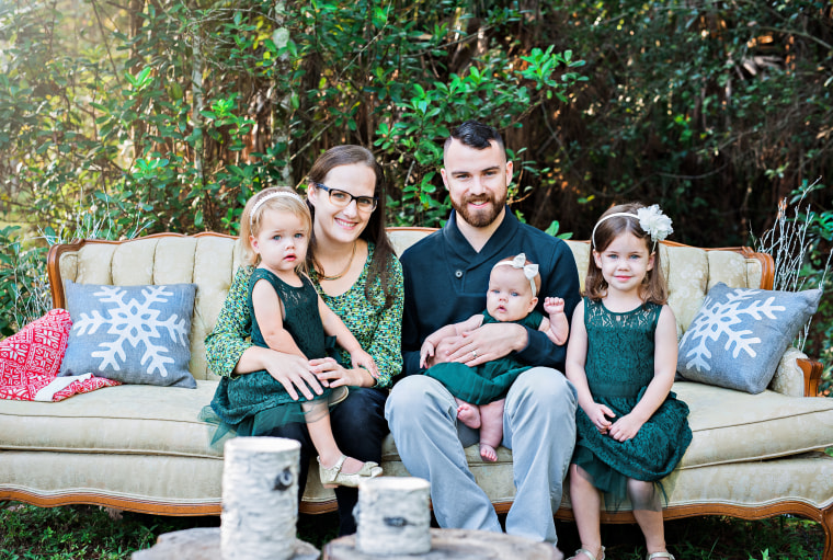 Molly Lensing with her husband, Nick, and their daughters, Agatha, 4, Felicity, 3, and Anastasia, 1.