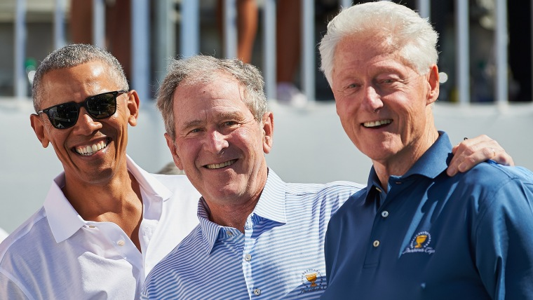 Former presidents Barack Obama, George W. Bush and Bill Clinton had themselves a great time before the opening round of the Presidents Cup golf tournament in New Jersey.