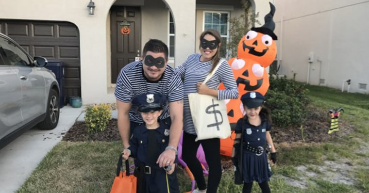 "Family ""cops and robbers"" costume."