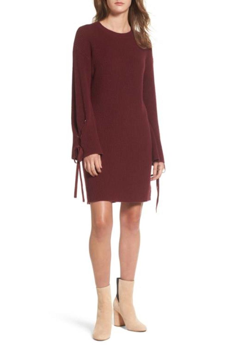Tie sleeve dress in maroon