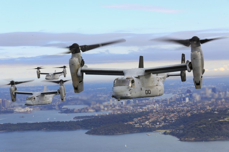 Image: Three MV-22B Osprey tiltrotor aircrafts flying in formation