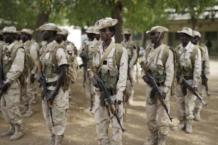 Image: Chadian troops participate in the closing ceremony of operation Flintlock in an army base in N'djamena, Chad, March 9, 2015.