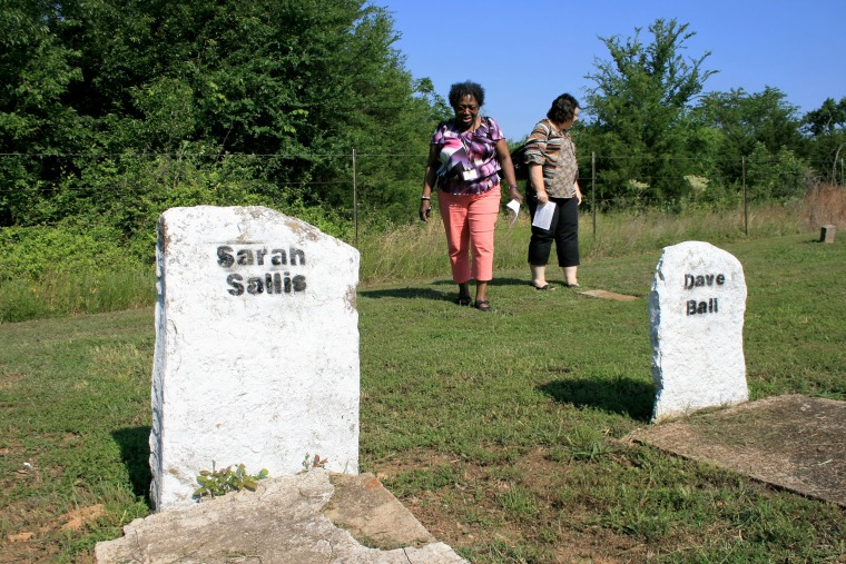 Image: The tour started at Four Mile Branch Missionary Baptist Church and Cemetery, which was established in 1867 by Creek and Cherokee Freedmen.