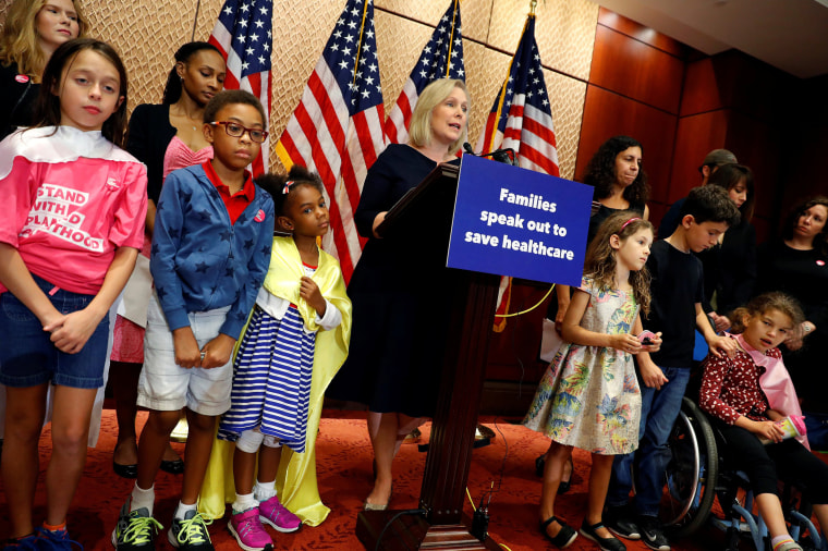 Image: Sen. Kirsten Gillibrand, D-N.Y., speaks at a news conference about the latest republican effort to repeal and replace the Affordable Care Act