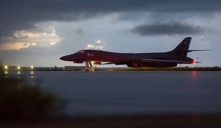 Image: US bombers fly in international airspace over waters east of North Korea