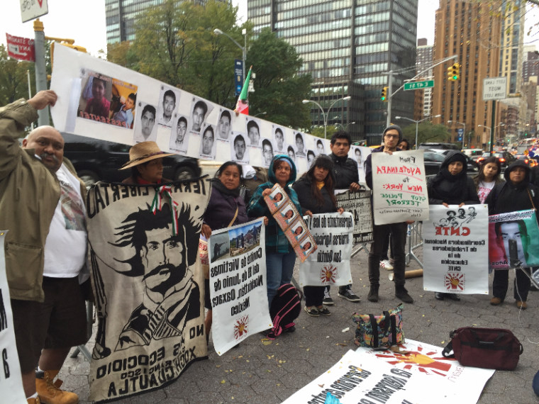 Activists and relatives gathered in 2016 in New York City to remember the 43 missing Mexican students.