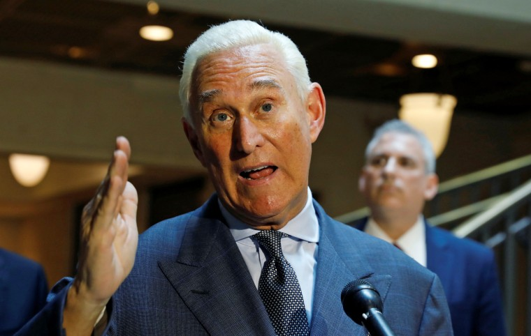 Image: U.S. political consultant Roger Stone, a longtime ally of President Donald Trump, speaks after a closed door hearing on Russian election interference in Washington