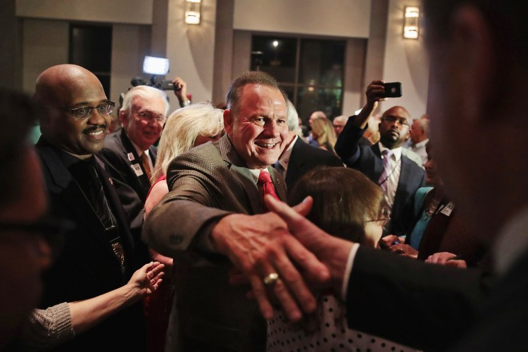 Image: Alabama GOP Senate Candidate Roy Moore Holds Election Night Gathering In Special Election For Session's Seat