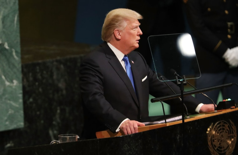 President Donald Trump speaks to world leaders at the 72nd United Nations (UN) General Assembly at UN headquarters in New York on September 19, 2017 in New York City.