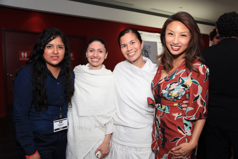 "From left: Karla Jacinto, sex trafficking survivor featured in ""Stopping Traffic""; assistant director Sadhvi Anubhuti; director Sadhvi Siddhali Shree; and executive producer Jeannie Mai at a private screening for ""Stopping Traffic."""