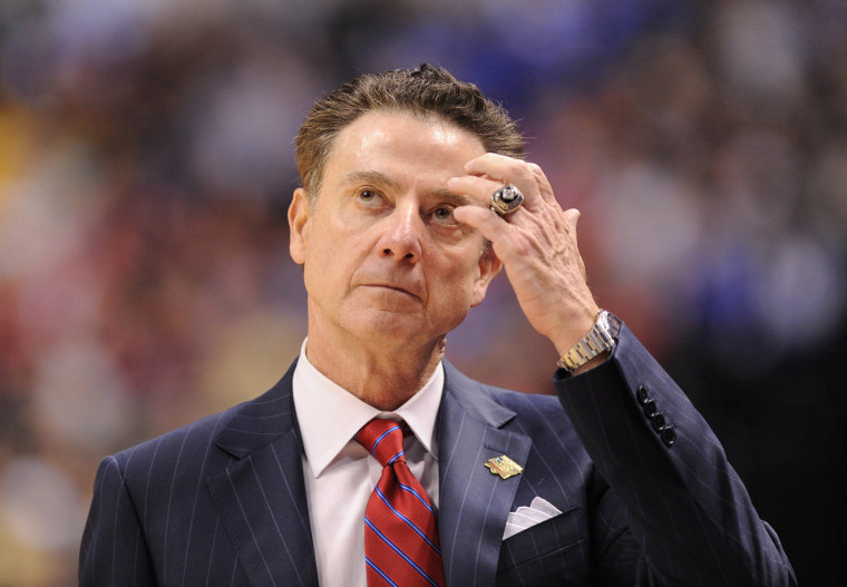 Image:  Louisville Cardinals head coach Rick Pitino reacts against the Michigan Wolverines during the second half in the second round of the 2017 NCAA Tournament in Indianapolis