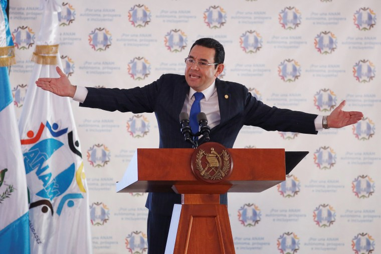 Image: Guatemala's President Morales attends a meeting with mayors in Guatemala City