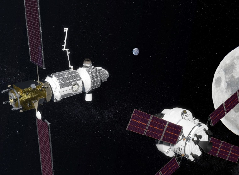 Image: A rendering of the proposed Deep Space Getaway, a U.S.-Russia manned spaceport to orbit the moon