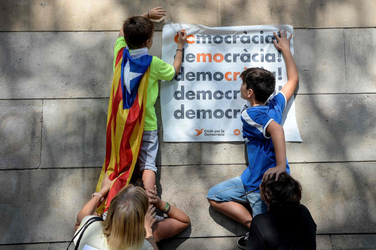 "Image: Pro-referendum demonstrators display a placard reading ""Democracy"""