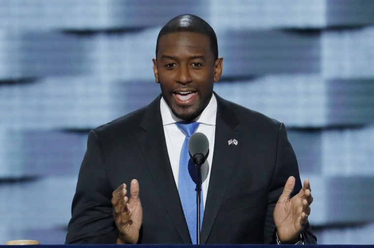 Andrew Gillum, mayor of Tallahassee, speaks during the third day of the Democratic National Convention in Philadelphia on July 27, 2016.
