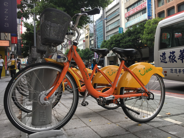 One of YouBike's docking stations on Nanjing West Road in Taipei City.