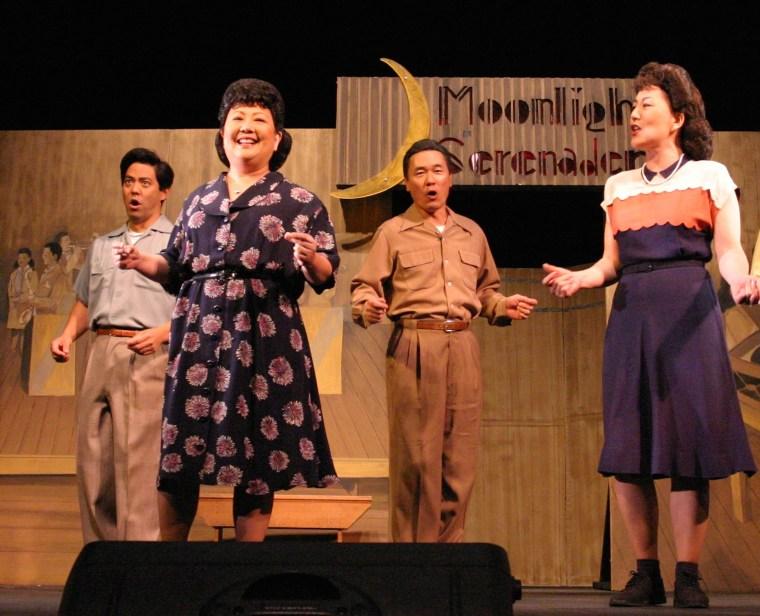 "The Grateful Crane Ensemble singing ""Moonlight Serenade"" in ""The Camp Dance: The Music & The Memories."" From left: Kurt Kuniyoshi, Haruye Ioka, Darrell Kunitomi, Keiko Kawashim."
