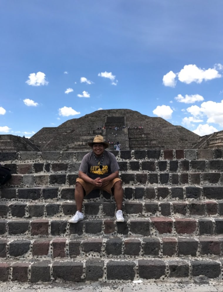 Jose Rivas at the ruins of Teotihuacan near Texcoco, Mexico. Rivas was born in Mexico and came to the U.S. when he was 6 years old. He was able to return to Mexico through a study abroad program facilitated by the California-Mexico Studies Center.