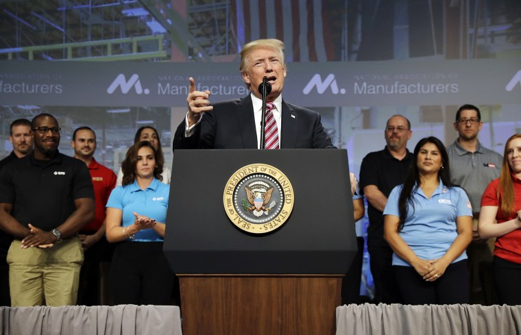 Image: President Donald Trump speaks to the National Association of Manufactures