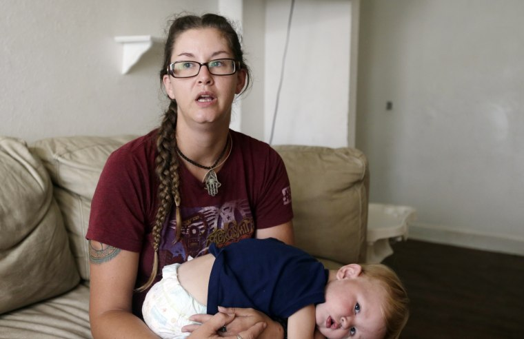 Image: Shelby Hoogendyk and her son Caelan Hoogendyk
