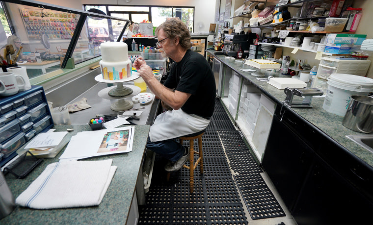 Image: Baker Jack Phillips decorates a cake in his Masterpiece Cakeshop in Lakewood, Colorado on Sept. 21, 2017.
