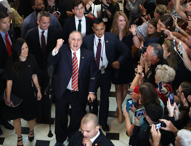 Image: House Republican Whip Steve Scalise reacts to cheers as he returned to the Capitol Hill for the first time after being shot in June
