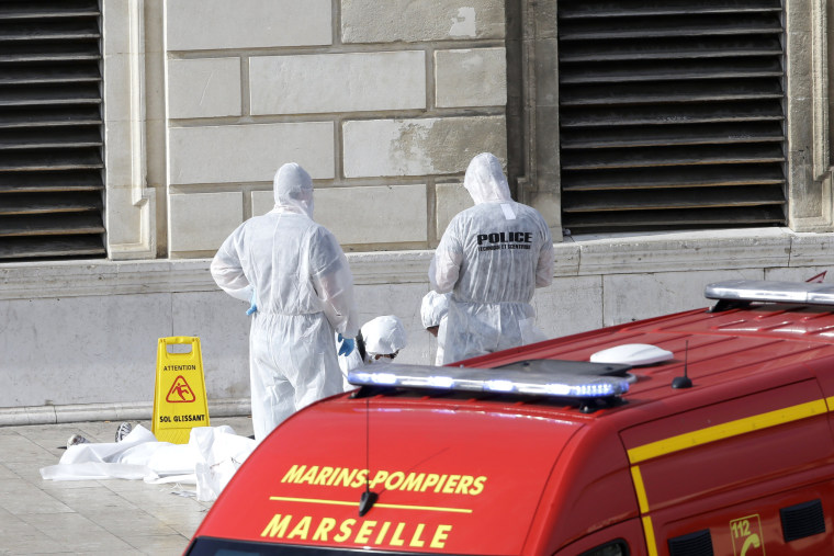 Image: Investigative police officers work outside Marseille 's main train station onOct. 1, 2017 in Marseille, southern France.
