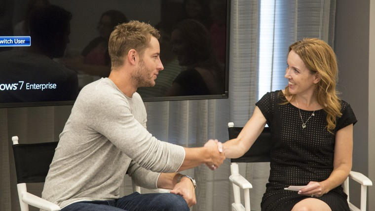 """Justin Hartley, who stars as Kevin on NBC's """"This Is Us,"""" speaks with Rebecca Dube, the head of TODAY Parents, at a TODAY Parenting Team breakfast in New York."""