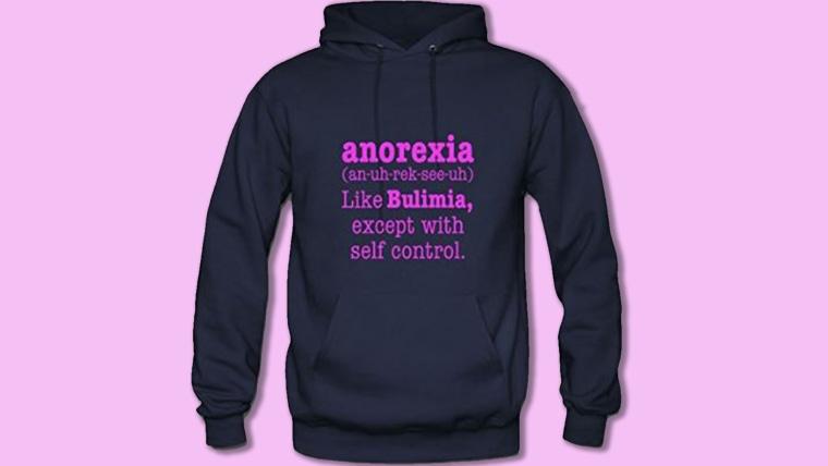 Amazon, anorexia sweatshirt