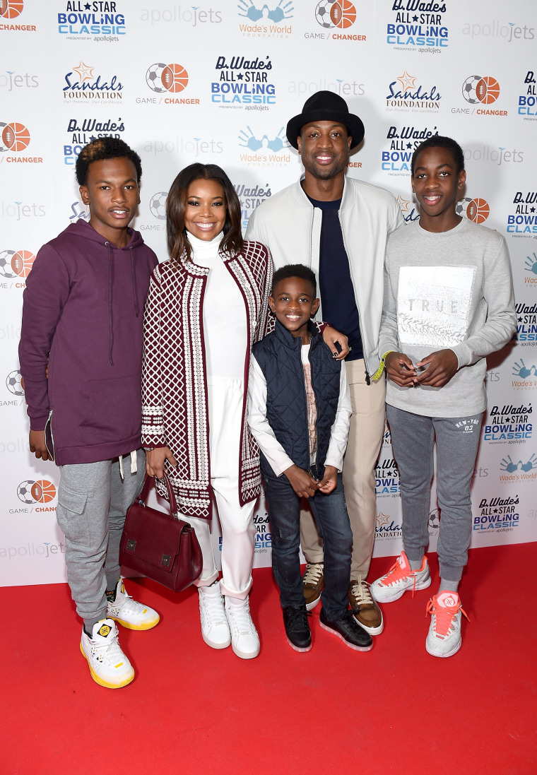 Gabrielle Union and Dwyane Wade with his children