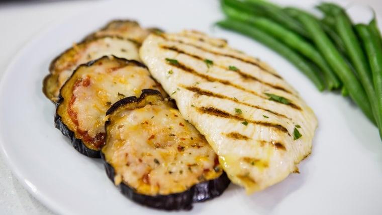 Grilled Eggplant Parmesan and Chicken Paillard