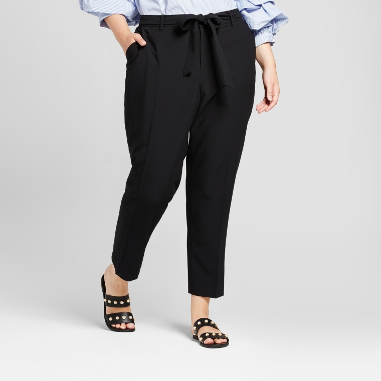 Plus Size Straight Leg Tie Waist Crepe Pants A New Day