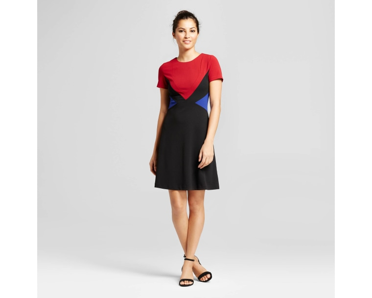 Spenser Jeremy Short Sleeve Scuba Crepe Color Blocked Dress