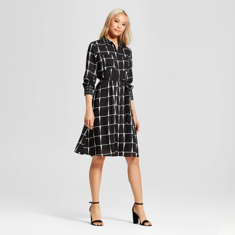 Who What Wear Black Plaid Ruffle Hem Shirt Dress