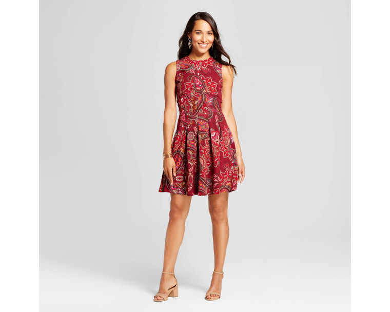 Spenser Jeremy Fit and Flare Printed Scuba Crepe Dress