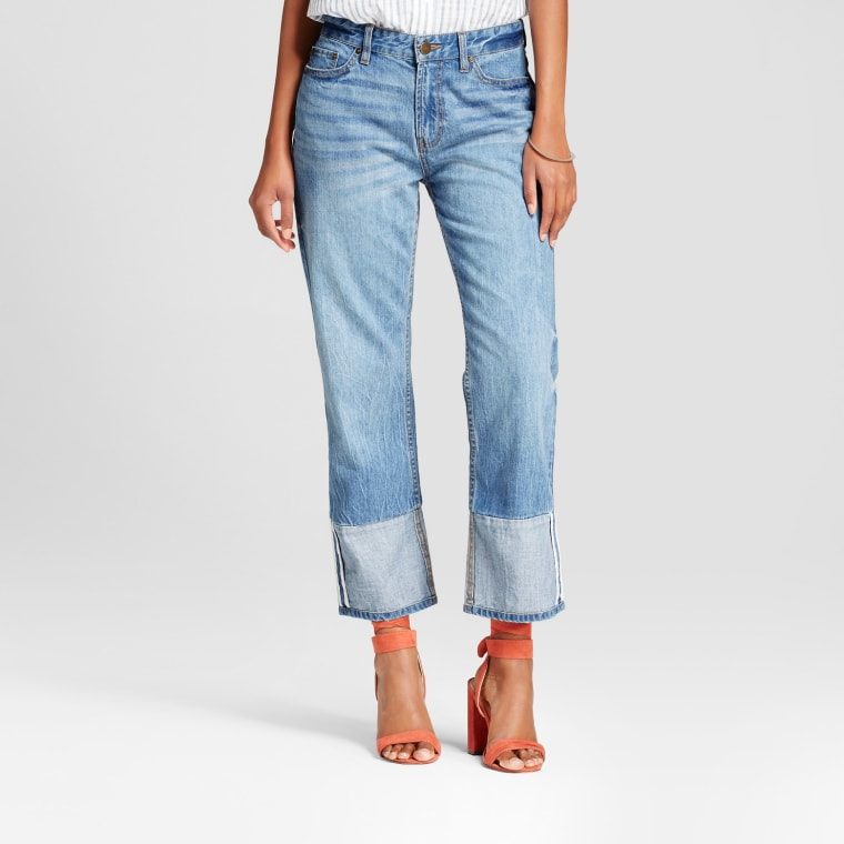 Who What Wear Light Wash Straight Leg Contrast Cuff Jeans